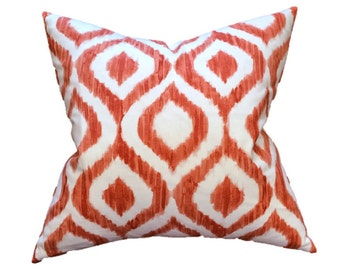 "Coral and White Watercolor Ikat Trellis Designer Pillow Cover- Lattice Pillow- Accent Pillow- Throw Pillow- Holds 22"" Insert"