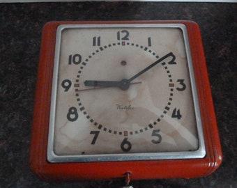 Vintage Red Westclox Kitchen Wall Clock- Works
