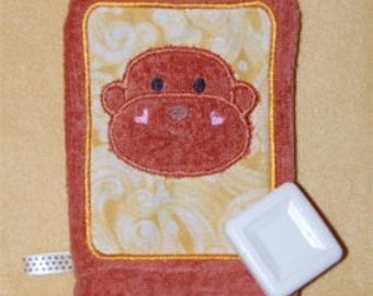 Monkey Applique Wash Mitt Embroidery Machine design for the 5x7 hoop