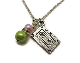 Cassette Tape Necklace Glass Pearl Necklace Mother Daughter Double Pearl Necklace Mixed Tape Necklace Birthstone Necklace Music Necklace