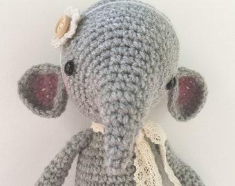 Amigurumi 'Elle' elephant  plushie designed by Little Owlet