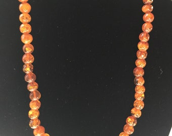 "Vintage Amber Necklace - 19"" (BA11)"