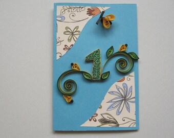 Boy's 1st Birthday Card - Paper Handmade Greeting Card - 1 Year Old, One Year Old Birthday Card - Quilling Card 2nd 3rd 4th 5th Blue Card