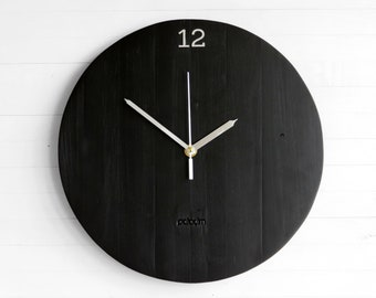 "Big Oval 12"" Wall Clock, Satin Black Modern Style Wooden, Round Wall Clock, Minimalist Design, Wall Art Decor, Authentic Unique Design"