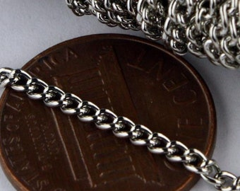 32 feet of Antique Silver Rhodium Plated Curb chain - 2.2mm - Unsoldered Links