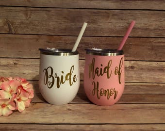 Bridesmaid Stainless Tumbler, Stemless Stainless Wineglass,Personalized Wine Glass, Monogrammed Stemless Wineglass