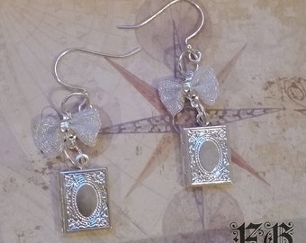 Story Time Silver Book Lolita Earrings
