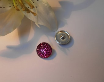 Button pressure 18mm for jewelry - sparkly fuchsia