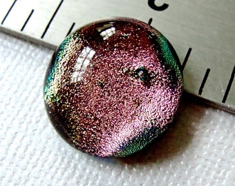 Dichroic Fused Glass Cabochon 16 mm Pale Pink Handmade
