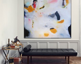Large Contemporary Painting Canvas Art, Handmade Abstract Art Modern Wall Art, White painting, Yellow, pink, blue, green, orange,.