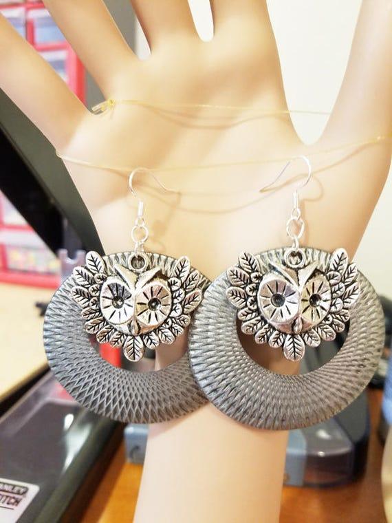 large owl face hoop earrings metal silver dangles handmade animal jewelry