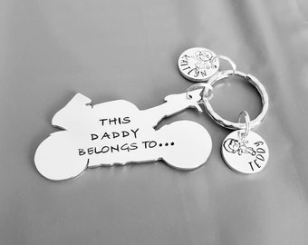 This Daddy belongs to unique motobike hand stamped personalised keyring great birthday gift christmas present or stocking filler