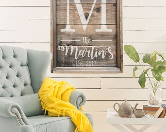 Family Established Sign | Last Name Sign | Large Farmhouse Sign | Wedding Gift | Wedding Decor | Home Decor | Reclaimed Weathered Wood Style
