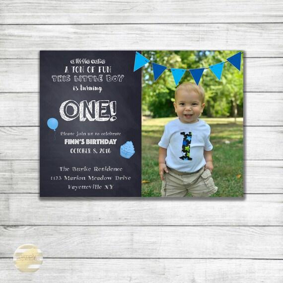 Baby Boy First Birthday Invitation Turning One Blue Flag Banner