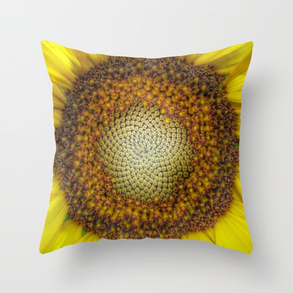 GHOST Sunflower Throw Pillow, Decorative Pillow, Cushion, Yellow, Sunflower Decor, Vivid, Bold, Sunny, Happy, Dorm, Office, Hotel, Nature