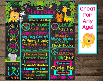 jungle theme birthday, jungle first birthday, jungle chalkboard poster, safari theme birthday, jungle theme party decoration, printable