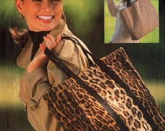 1992 Misses BAG HAT CAP Pattern Very Easy Vogue #8498 Tote Baseball Cap Newsboy Cap Fabric Chapeaux Ladies' Accessories Vintage Sewing
