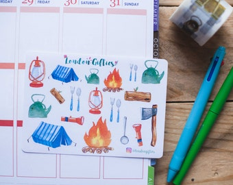 Camping: free spirit wanderlust explorer - decorative watercolour planner stickers suitable for any planner -297-
