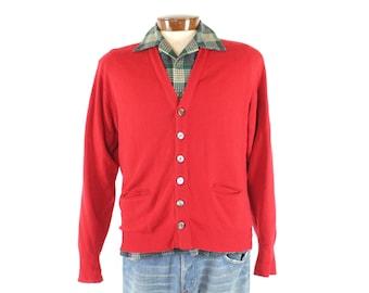 Vintage 50s Cashmere Cardigan Sweater Red Button Up Mens Size Medium M 1950s Preppy Rockabilly Fashion