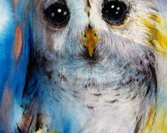Baby Owl Artwork Original Watercolor Painting Bird Painting Wildlife Nature Art