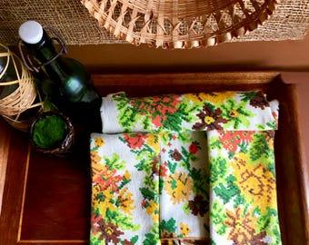 Vintage Bohemian Floral / Checked Print Linen Dinner Napkins - Set of Four - Vintage Bohemian Dining