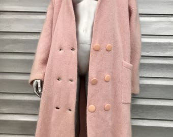 Vintage Oversized Pink Knit Sweater Duster Jacket Coat