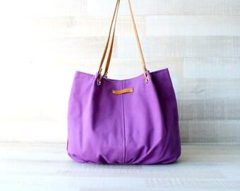 Tote Bag, Large Purse, Diaper Bag, Violet Bag, Purple Tote Bag, Hanbag, Bag, Genuine Leather Handles, Large Bag, Oversize Bag, Everyday Tote
