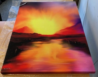 Skye Sunset | Stretched Canvas Limited Edition Giclee Scottish Fine Art Print | Scotland