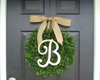 SUMMER WREATH SALE Faux Boxwood Wreath, Monogram Spring Wreath, Outdoor Door Hanging, Fall Wreaths, Spring Decor, Boxwood with Burlap Bow