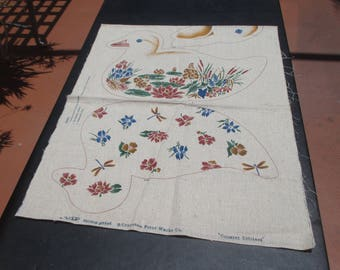 Vintage Screen Print Cranston Print Works Co  Country Critters Fabric Panel  For Pillow Making