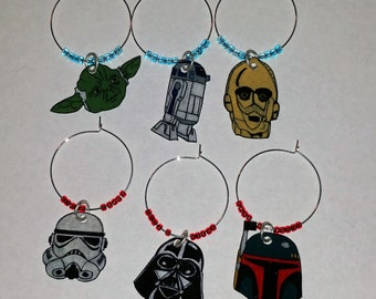 Star Wars wine glass charms, Star Wars wine charms, Disney wine charms