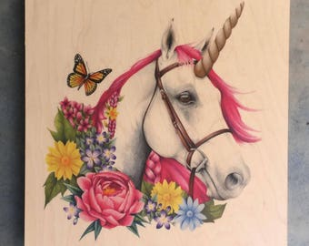 Unicorn illustration on maplewood