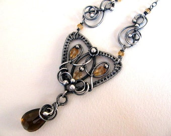 Wire Wrapped Sterling Silver Necklace Pendant, Handmade Brown Amber Gemstone Jewelry