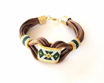 Tribal Bracelet, Boho, Leather Bracelet, Ethnic Bracelet, Gypsy Jewelry, Hippie Bracelet, Beaded, Cuff  Bracelet, Peyote, Miyuki Jewellery