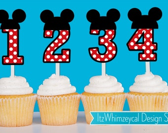 Personalized Polka Dot Mickey Die Cut Cupcake Topper (One Dozen)