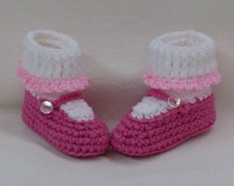 Crocheted Baby Booties Mary Jane Style with heart shaped heel choose a size