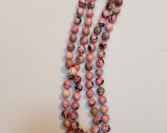 Rhodonite knotted bead necklace