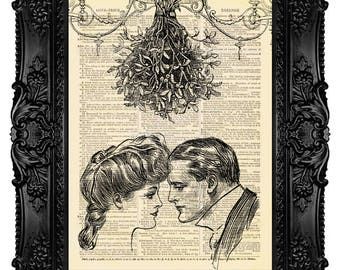 Mistletoe Kiss 2 - ORIGINAL ARTWORK - Dictionary Art Print Vintage Antique Upcycled Book Page no. 256