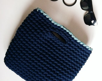 Navy Blue crochet tote bag