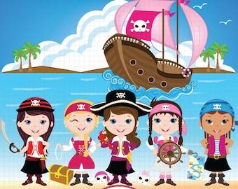 Pirate Clipart, Pirate Clip Art, Pirate Digital Clipart, Pirate Girl Clipart, Pirate party Clipart, Pirate birthday