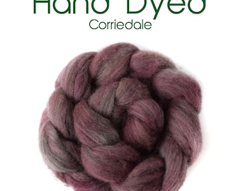 Hand Dyed Natural Grey Corriedale - 100g /3.5oz - grey - plum