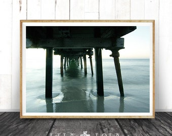 Beach Photography, Jetty Wall Art Print, Coastal Ocean Water, ModernMinimal, Large Poster, Instant Digital Download, Printable Decor