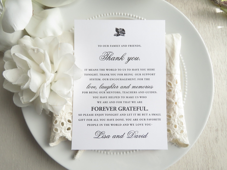 Printed Reception Thank You Card Wedding