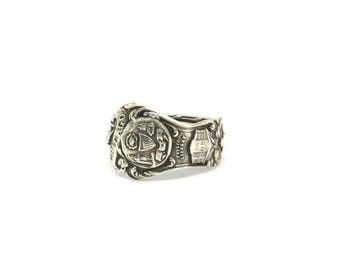 Chicago antique sterling silver ring, Windy City Ring, Illinois ring, spoon ring,  american ring