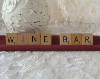 Wine Bar Signs, Wine Lovers Gift, Wine Gifts, Bar Signs, Wine Bar, Wine Decor, Custom Word Sign, Scrabble Sign, Word Sign, Made for You Sign