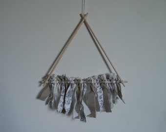 Neutral Toned Triangle Messy Wall Hanging