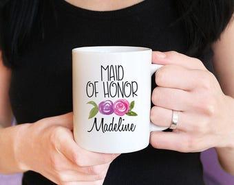 Maid of Honor Mug - Maid of Honor Proposal Will You be my Bridesmaid - Watercolor Floral Mug - Bridesmaid Proposal Mug Gift Watercolor Mug