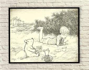 Winnie the Pooh, Classic Pooh, Pooh Wall Art, Pooh Art Prints, Christopher Robin, Vintage Pooh Sketch, Vintage Pooh Drawings.