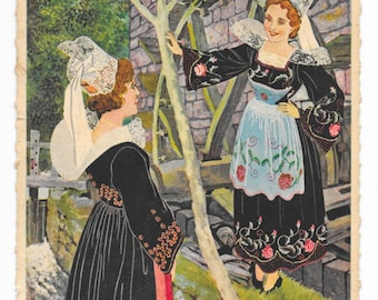 Artist-Signed Women of Brittany, France Postcard, c. 1950