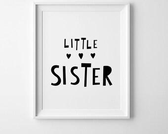 Little sister black and white prints, girls room decor, best selling items, nursery printable art playroom decor digital print nursery print